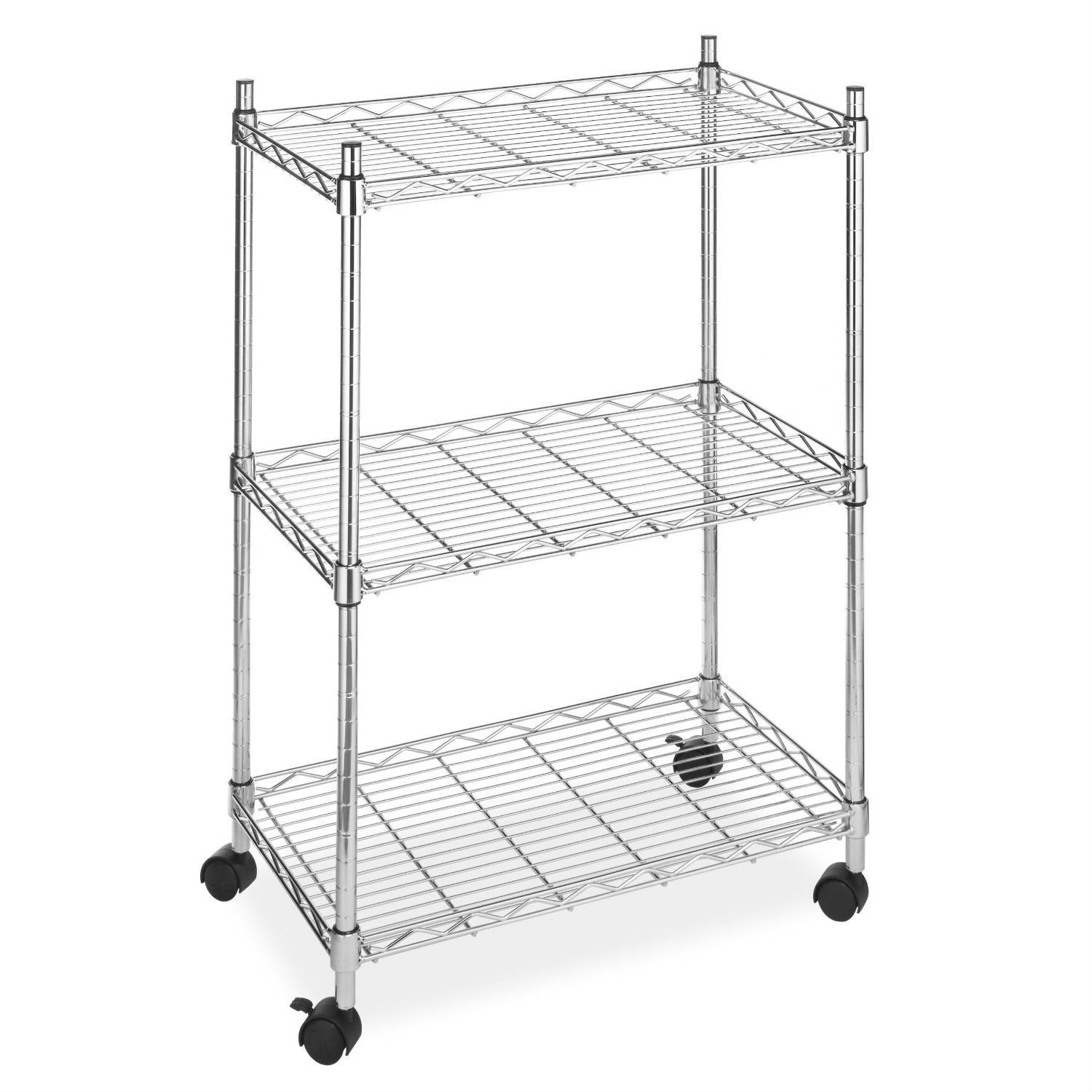 aefe1c09fca 3-Tier Metal Cart on Wheels for Kitchen Microwave Bathroom Garage ...