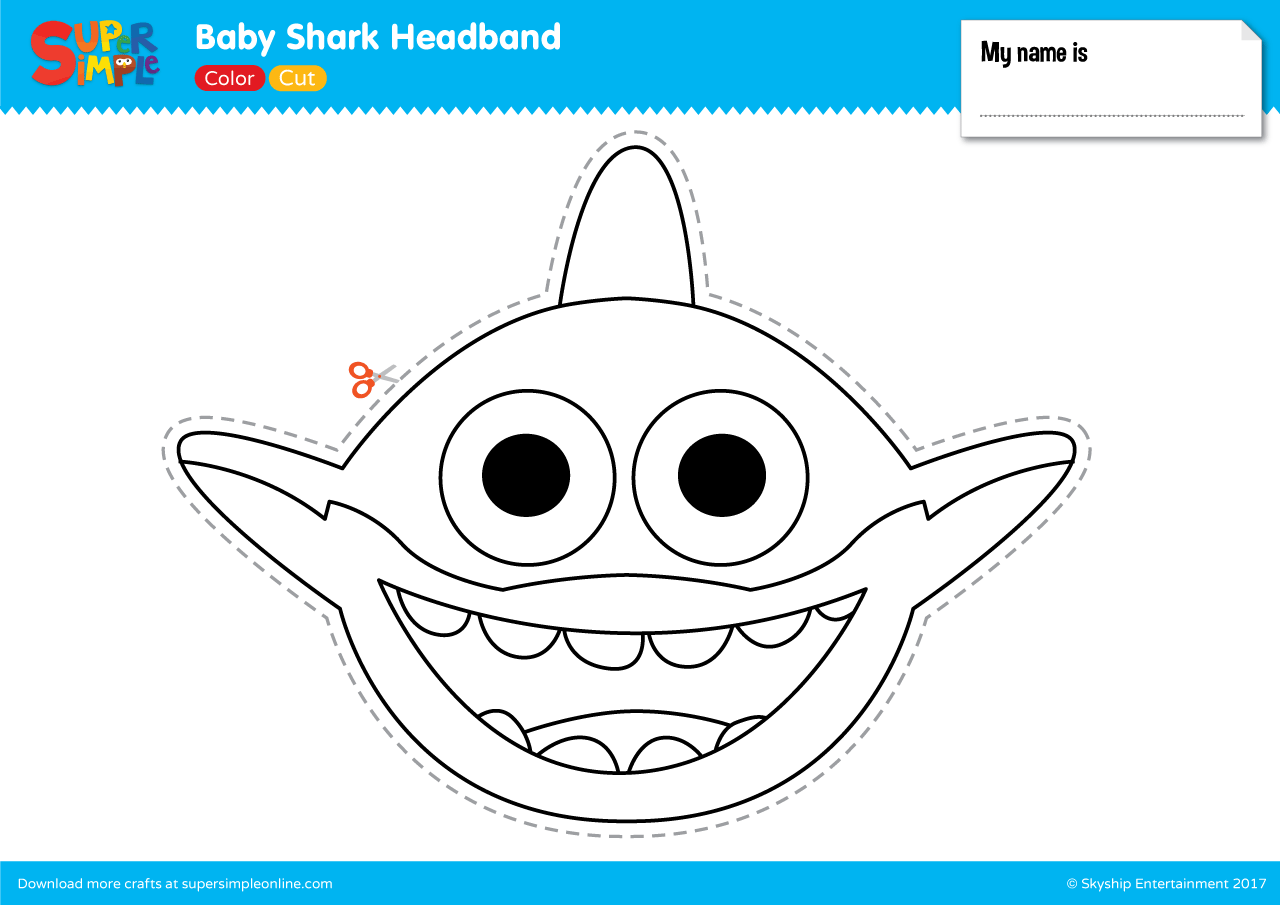 Baby Shark Headband Super Simple Shark Crafts Preschool Shark Craft Shark Coloring Pages