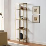 Crosley Furniture CF6114GL Aimee Narrow Etagere Bookcase  Gold and Glass is part of Living Room Shelves Gold - N Y