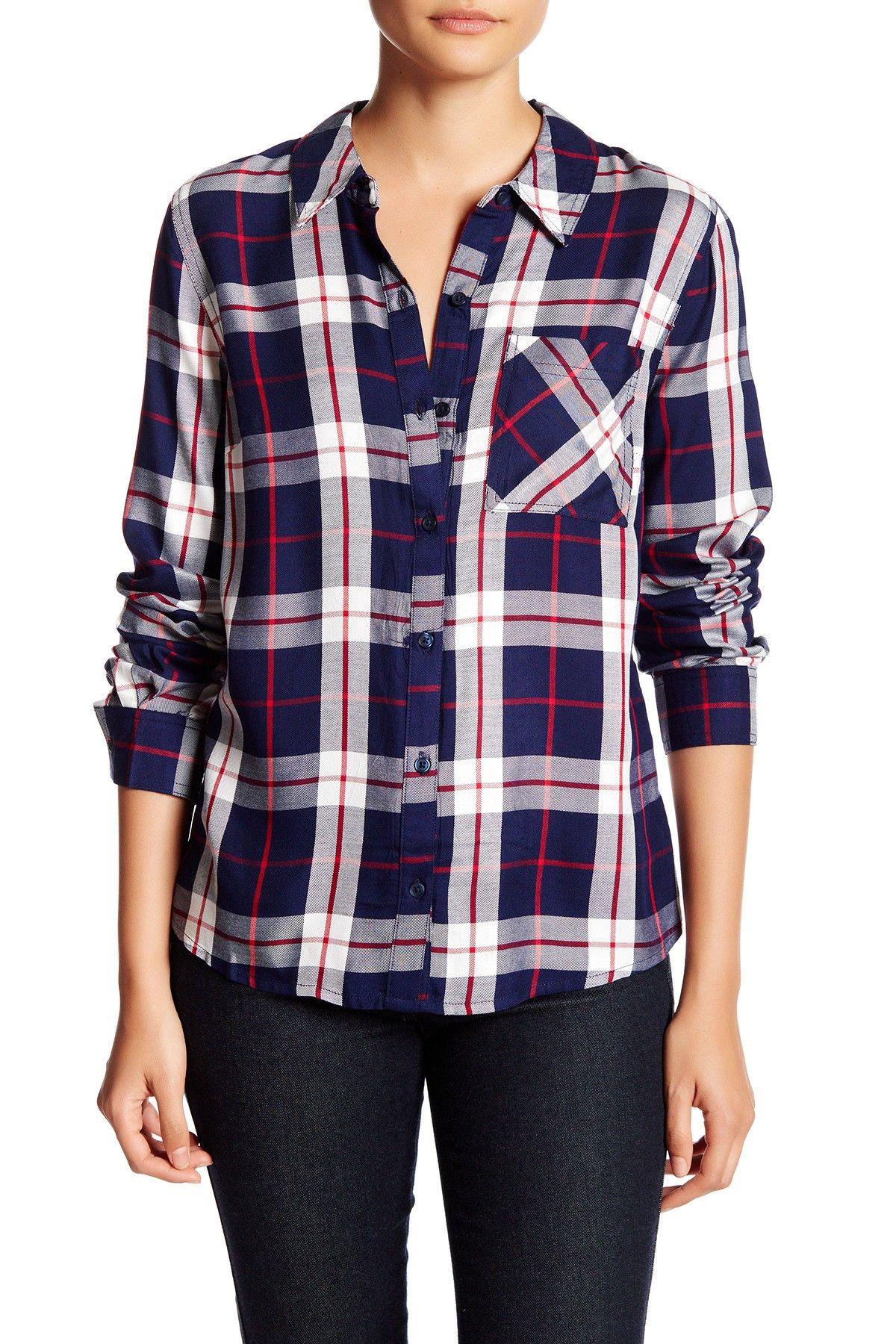 Long Sleeve Plaid Woven Shirt (Petite)