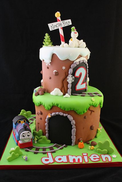 Thomas the Tank Engine and Frosty cake by Andrea's SweetCakes, via Flickr