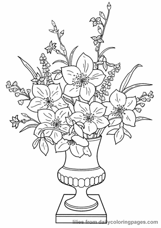 Realistic Flower Coloring Pages Flower Coloring Pages Flower Coloring Sheets Flower Vase Drawing