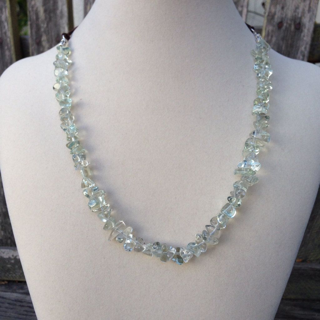 Green Amethyst Pebble Necklace, 19 inches by EastVillageJewelry on Etsy