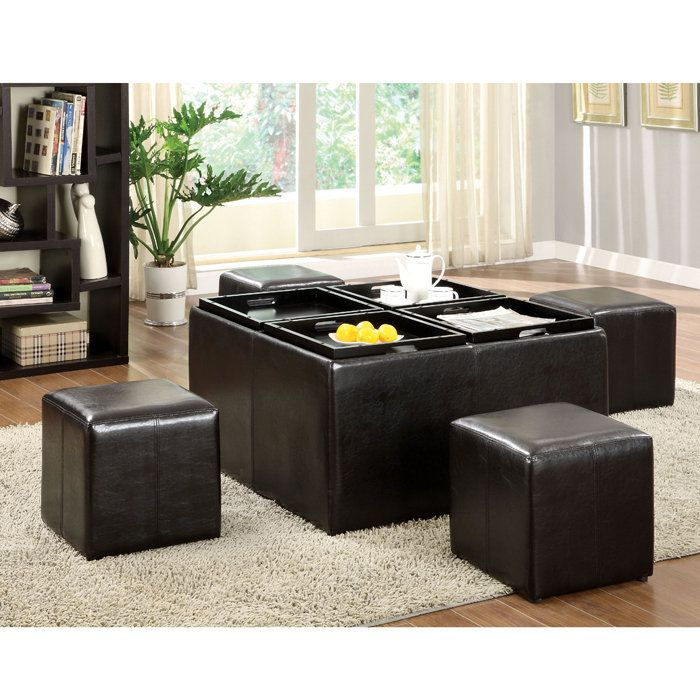 Fine Misha Storage Ottoman W 4 Nesting Seats Serving Trays Alphanode Cool Chair Designs And Ideas Alphanodeonline