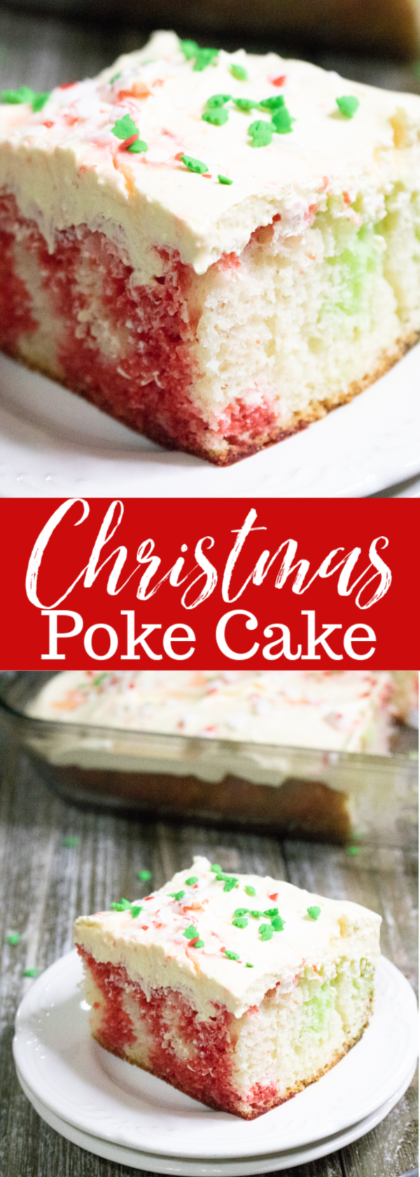 Festive and delicious Christmas Poke Cake. Delight your friends and family with this beautiful and yummy cake. #christmas #christmascake #recipes #holiday #desserts #easy #red #green #mooreorlesscooking #holidaydesserts