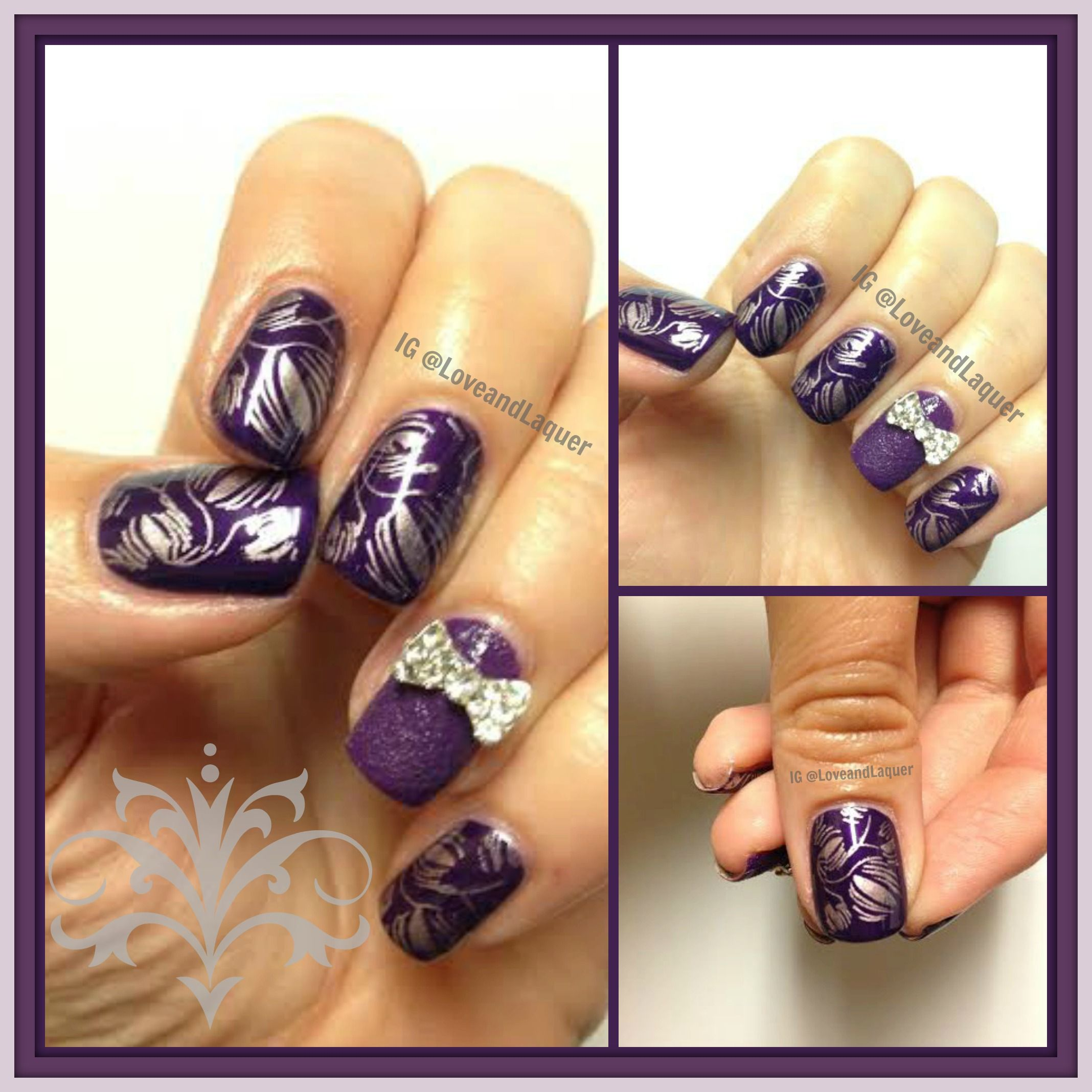 purple stamped nails nail art - OPI I Carol About You stamped with ...