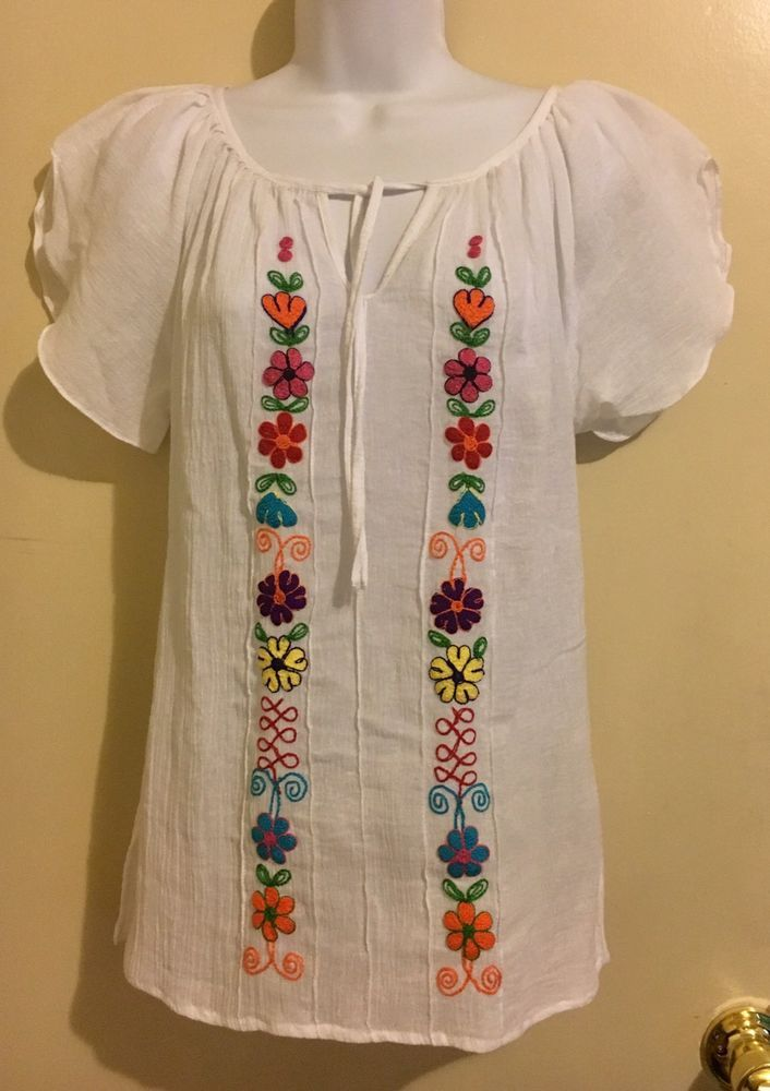 aaab44d7a41c9c New Women's Ethnic Blouse Flower Handmade Embroidered Tunic Shirt Top White  - S #Handmade #Blouse #Casual
