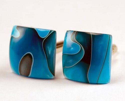 Handcrafted Cufflinks - Persian Blue - Acrylic   bcrdesigns - Accessories on ArtFire