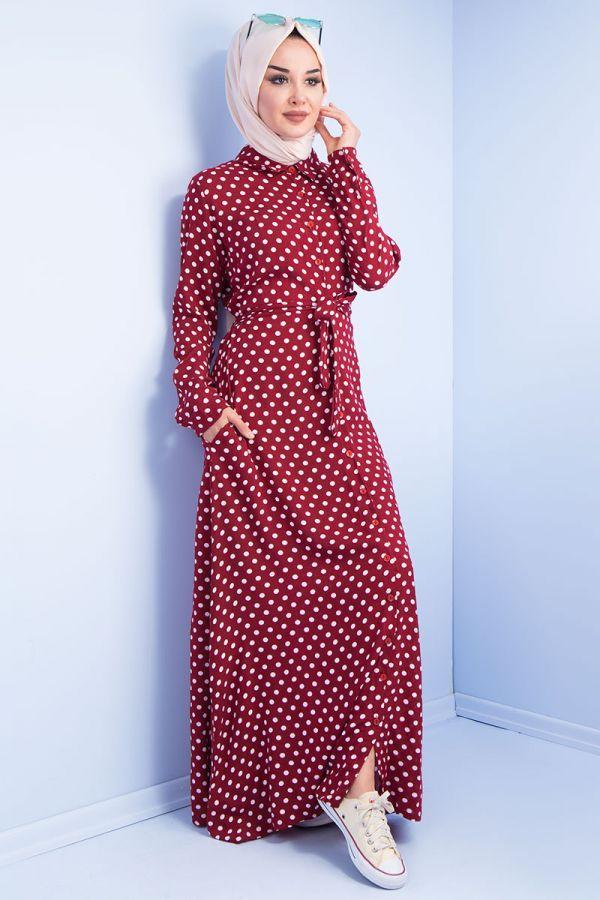 Puantiye Patterned Shirt Dress Bordeaux Elbise Gomlek Elbise Giyim