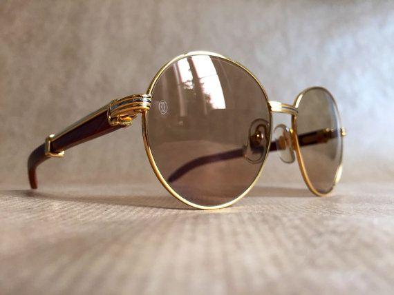 1c60dfa7586 Cartier Bagatelle Palisander Rosewood Vintage Sunglasses 18kt Gold Plated  including Box
