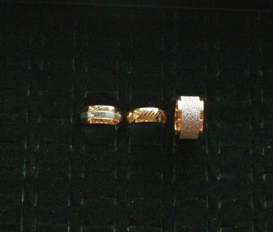 Details about Gold Ring 9k Yellow White Band Sparkle Statement ...