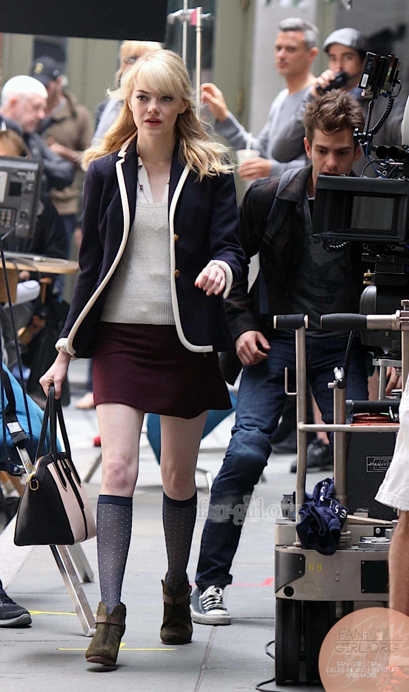 amazing spiderman 2 on set photos | Emma Stone The Amazing Spider Man 2 Sexy New Photos of Emma Stone On ...