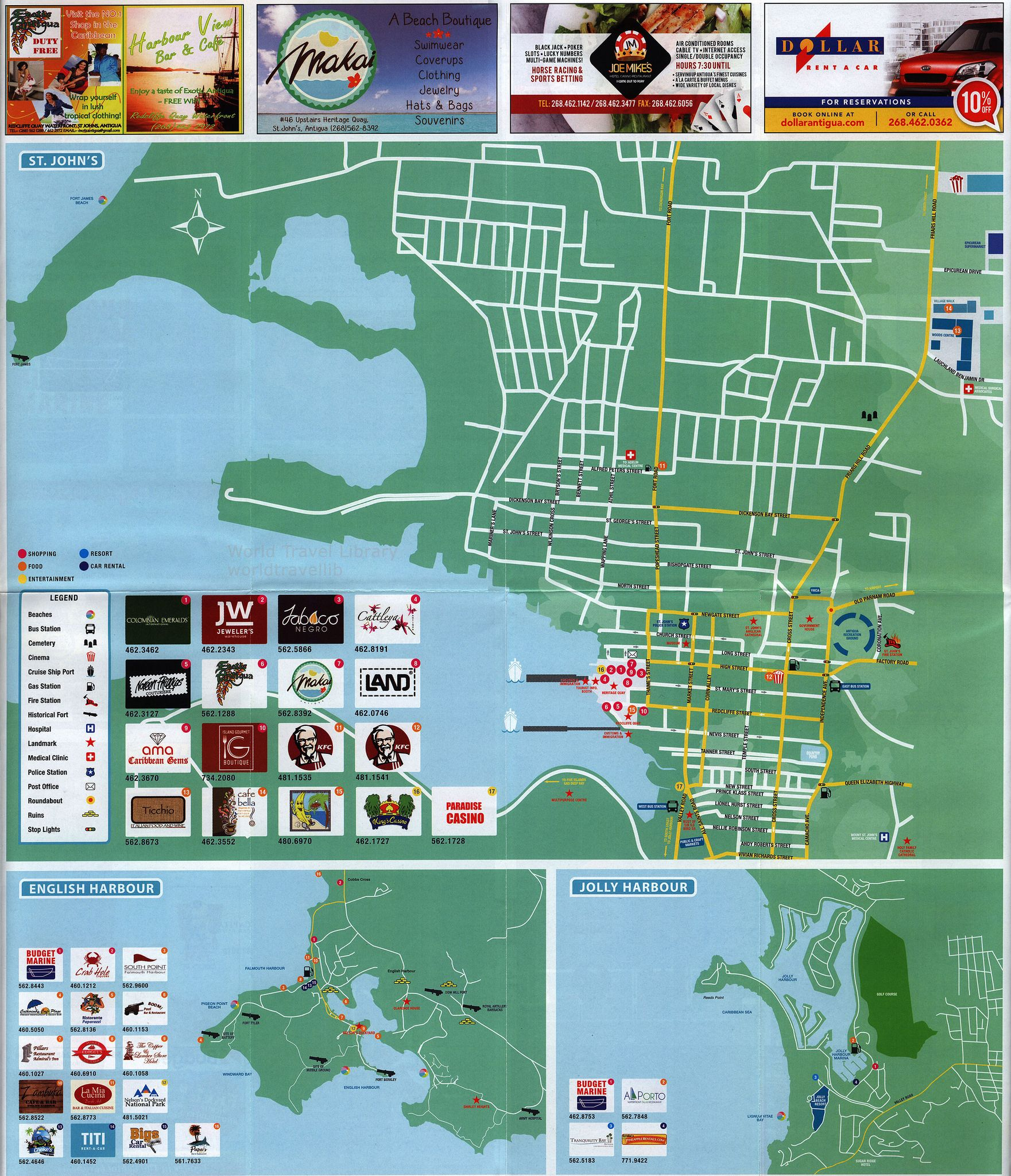 Official Tourist Map of Antigua Barbuda paradise map Tourist