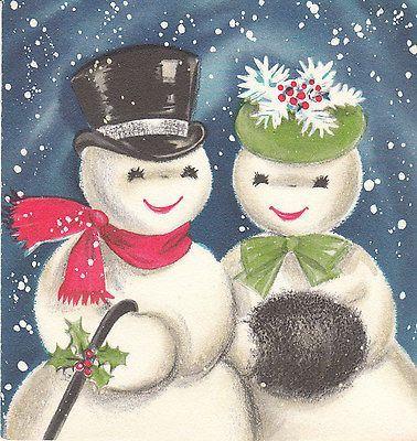 Vintage Christmas Card Snowman and Snow Lady Hallmark Blue Mid Century