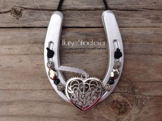 Silver Pony Horseshoe With Heart Pendant Western Home Decor