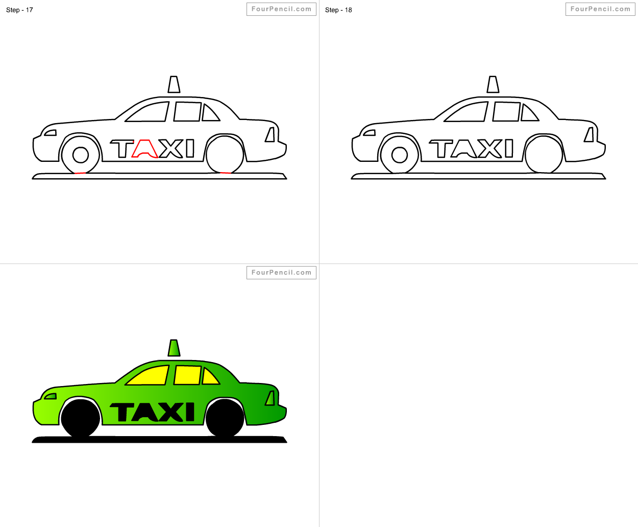 how to draw taxi for kids step by step drawing tutorial draw taxi