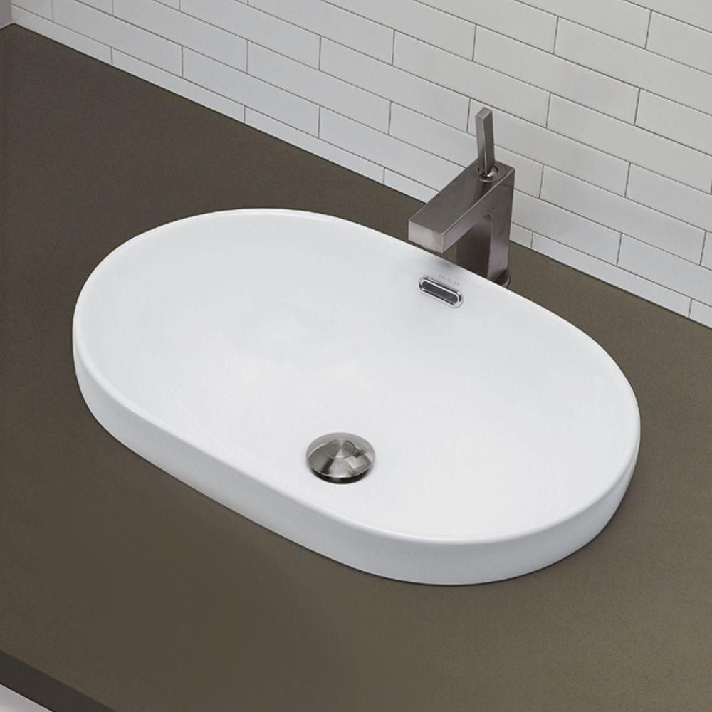 Decolav Classically Redefined Semi Recessed Oval Bathroom Sink In White 1456 Cwh The Home Depot Drop In Bathroom Sinks Bathroom Sink Sink