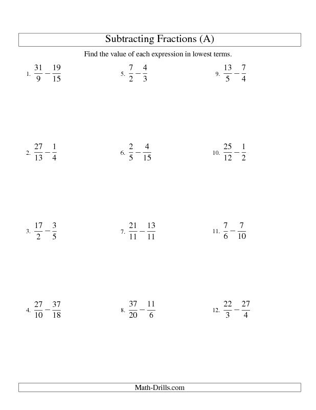 Fractions Worksheet  Subtracting Fractions With Unlike