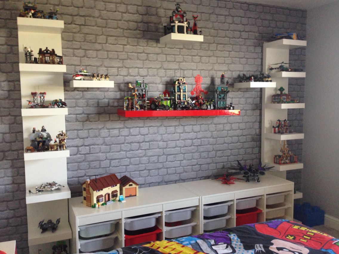 Lego creation station lego storage lego themed bedroom for Display bedroom ideas