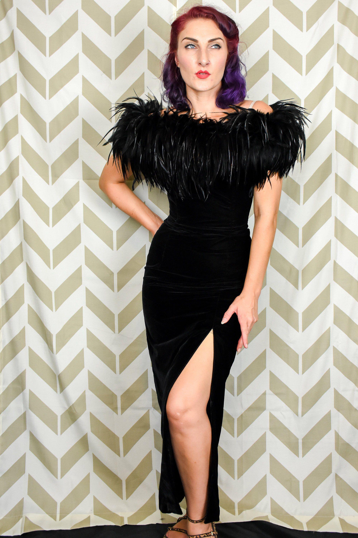 Vintage Black Velvet Dress 1980s Dress 1950s Style Dress Etsy Black Feather Dress Feather Dress Black Velvet Dress [ 3000 x 2000 Pixel ]