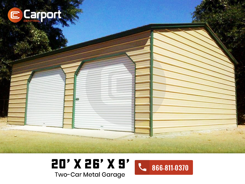 20x26x9 Vertical Roof Garage Two Car Garage Building For Sale Metal Garages Garage Metal Buildings