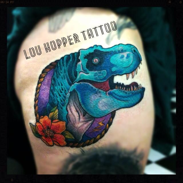 This Is A Tattoo By Lou Hopper Who Features On Tattoo: T Rex Tattoo By Lou Hopper @ King Of Hearts Tattoo Parlour