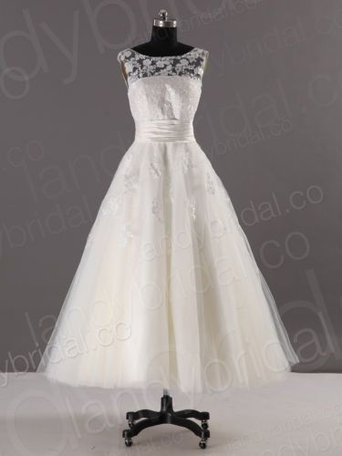 Top Brautkleid Hochzeitskleid Weiss Creme Wadenlang Spitze 32 34 36