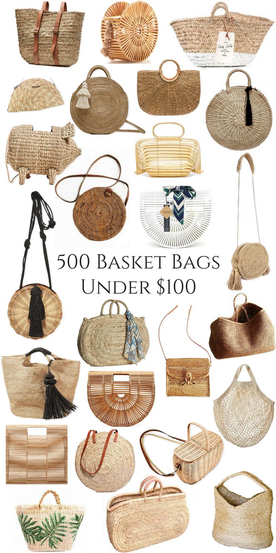 500 Basket Bags Under $100 | Woven Seagrass Bamboo Rattan Wicker Handbags Purses Summer Inexpensive