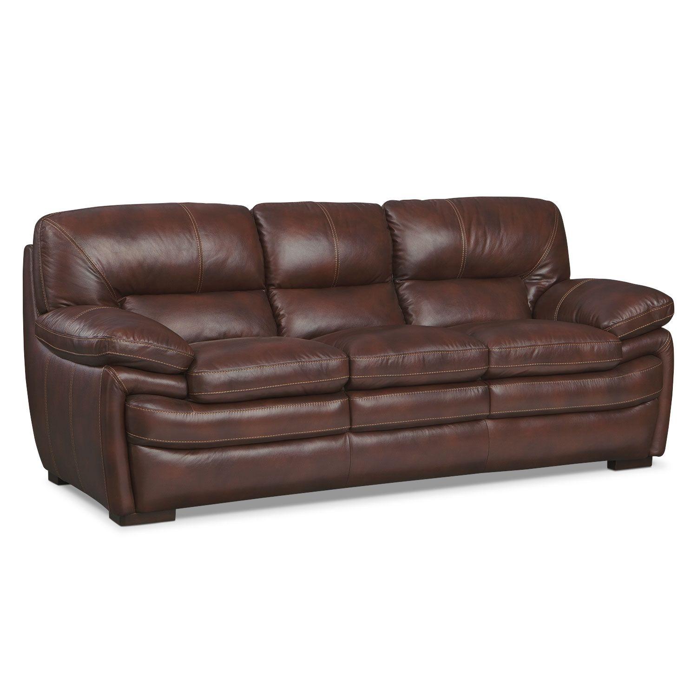 Living Room Furniture Peyton Chestnut Sofa Leather Value City
