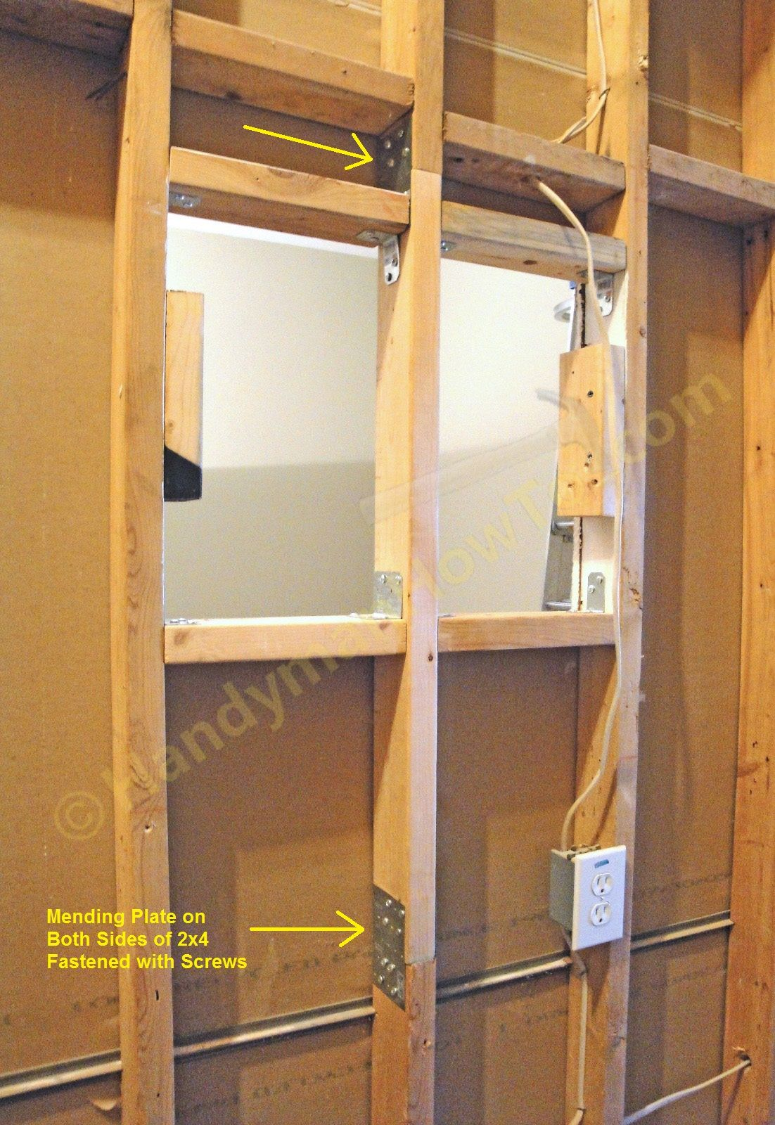 How To Repair A 2x4 Load Bearing Wall Stud Photo Tutorial Install Electrical Rough In Wiring Of Earthship Tire Walls Pictures Pin On The Splice Mending Plates And Cross Braces Then Mount Drywall Panel