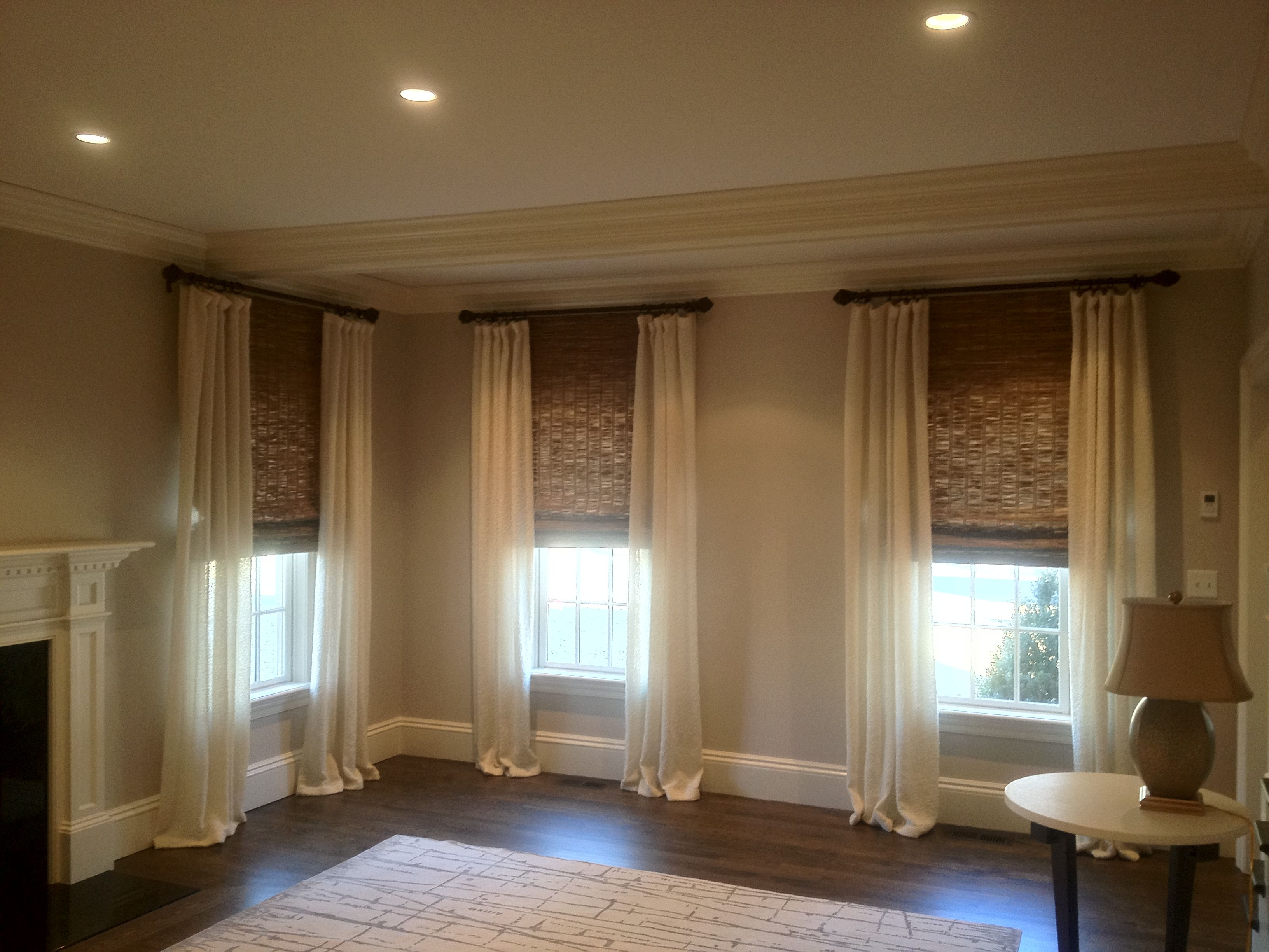 Stationary Drapes With Woven Woods By Window Works For