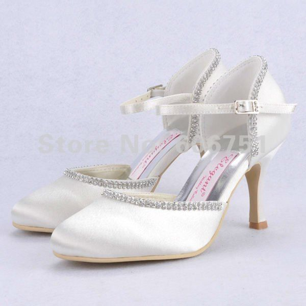 0416d2b3c32 Ankle-wrap ivory high heel wedding shoes satin round toe rhinestone custom  made women pumps bridal party shoes free shipping on AliExpress.com.  84.65