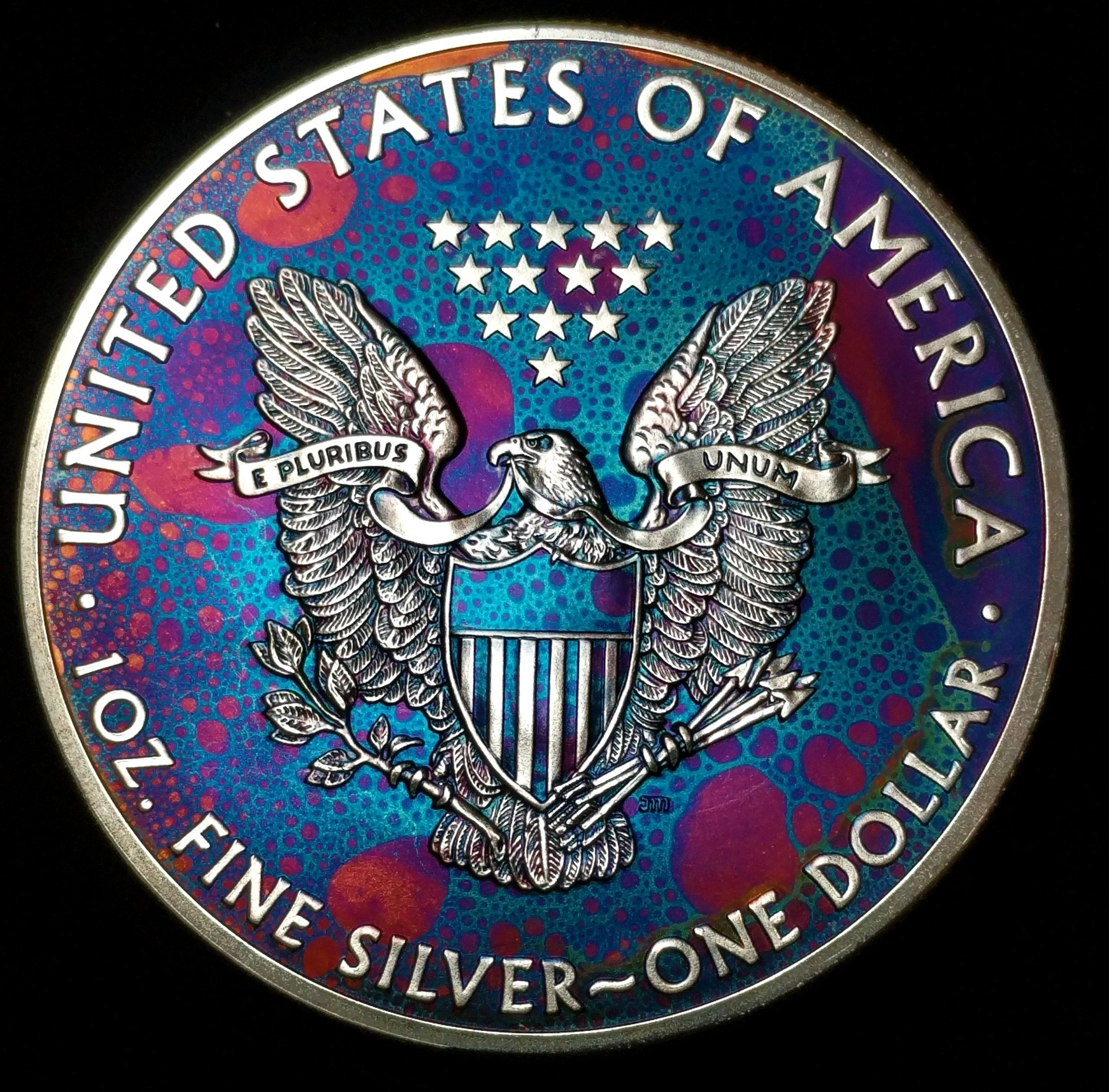 2016 Rainbow Monster Toned Silver American Eagle Coin 1 Troy Ounce Silver A486 Eagle Coin Coins Eagle