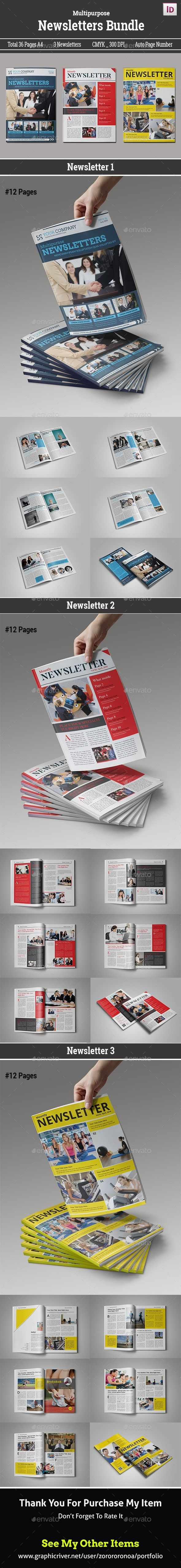InDesign Newsletter Design Template Bundle - Newsletters Template ...