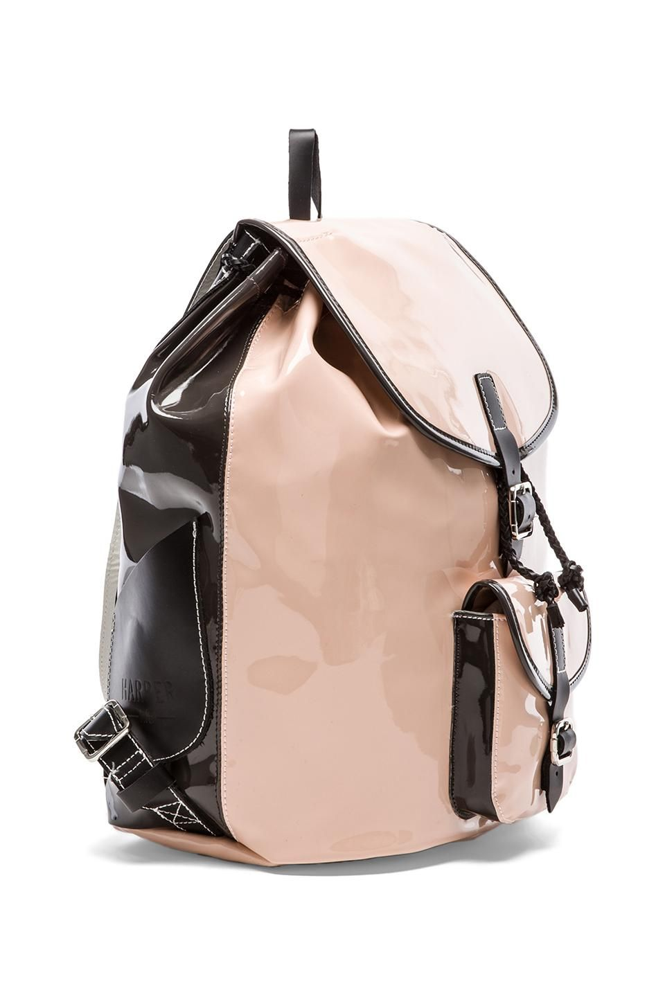 blush patent-leather backpack