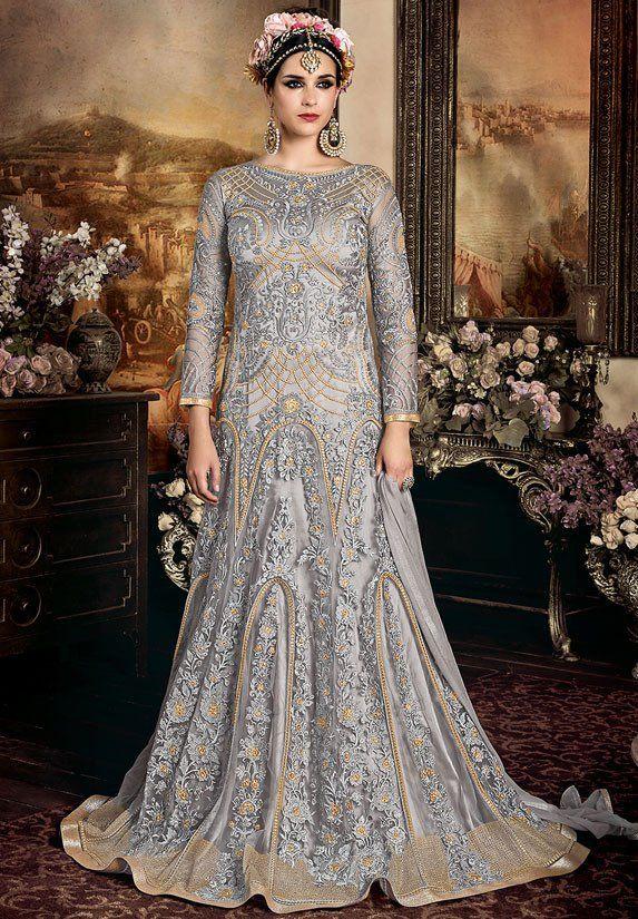 60c8916871 Scintillating Silver Grey Designer Anarkali Suit   Anarkali Dresses