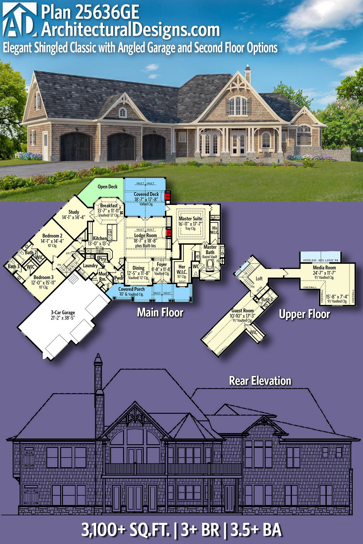Plan 25636GE Shingle Style Classic with Lots