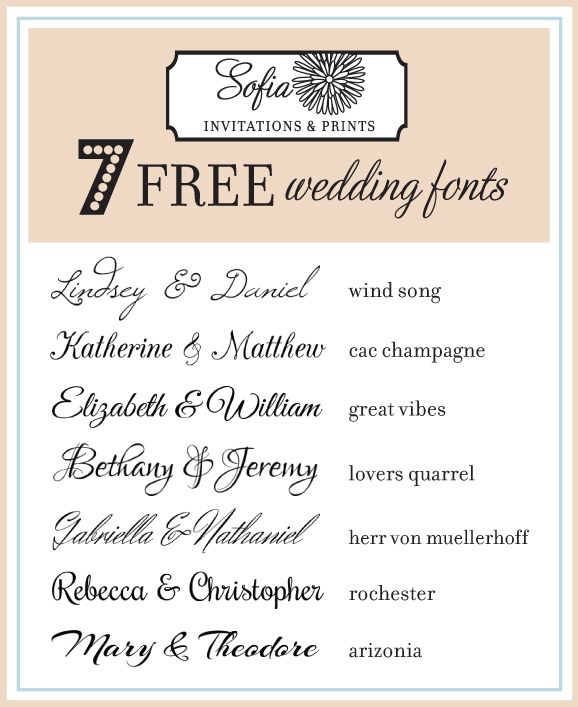 Exceptional Free Calligraphy Wedding Fonts 2015. Chosen By Sofia Invitations And  Prints. Www.sofiainvitations