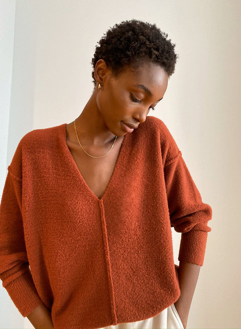 orange relaxed fit slouchy chunky knit crew neck sweater pullover 80s  M