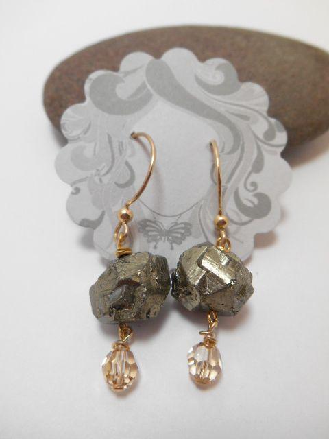 Earrings : 14kt GF Pyrite Nugget Earriings