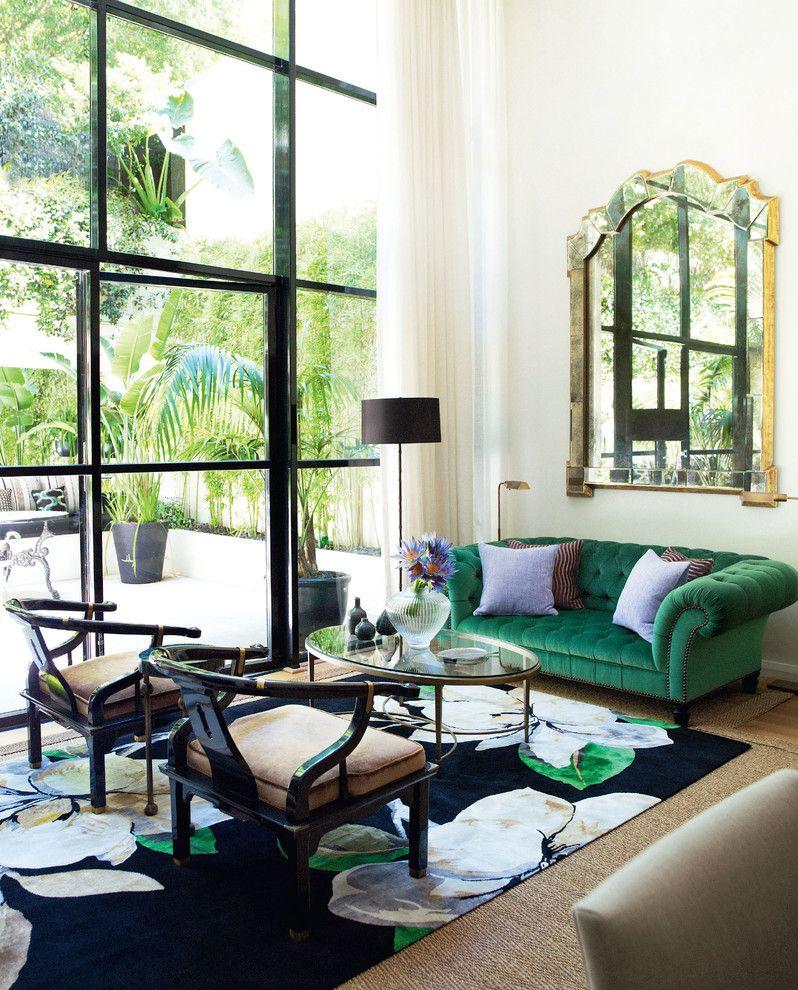 White Sofas in Green Asian Living Room   Asian living ...
