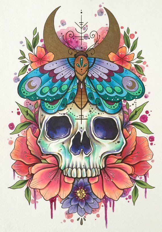 Schädel Tattoo Druck, Tattoo Design, Tag der Toten Kunst, Aquarellmalerei, gotische Wohnkultur, alte