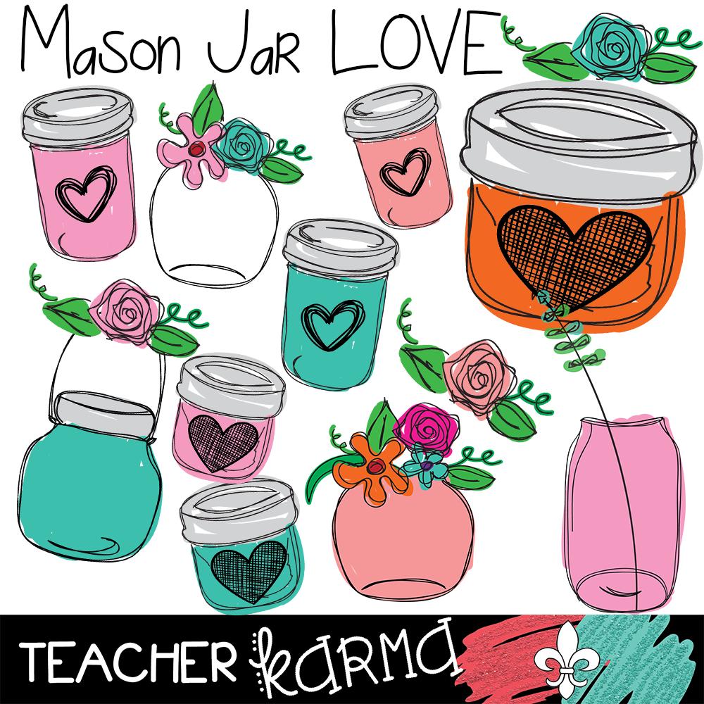 Mason Jar LOVE Clipart  Perfect for scrapbooking, wedd