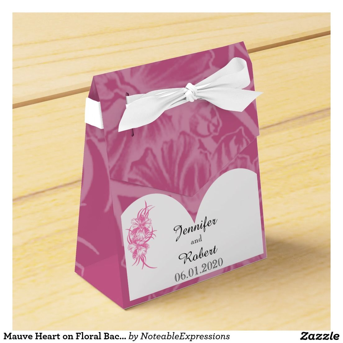 Mauve Heart on Floral Background Wedding Favor Box | Wedding : Favor ...