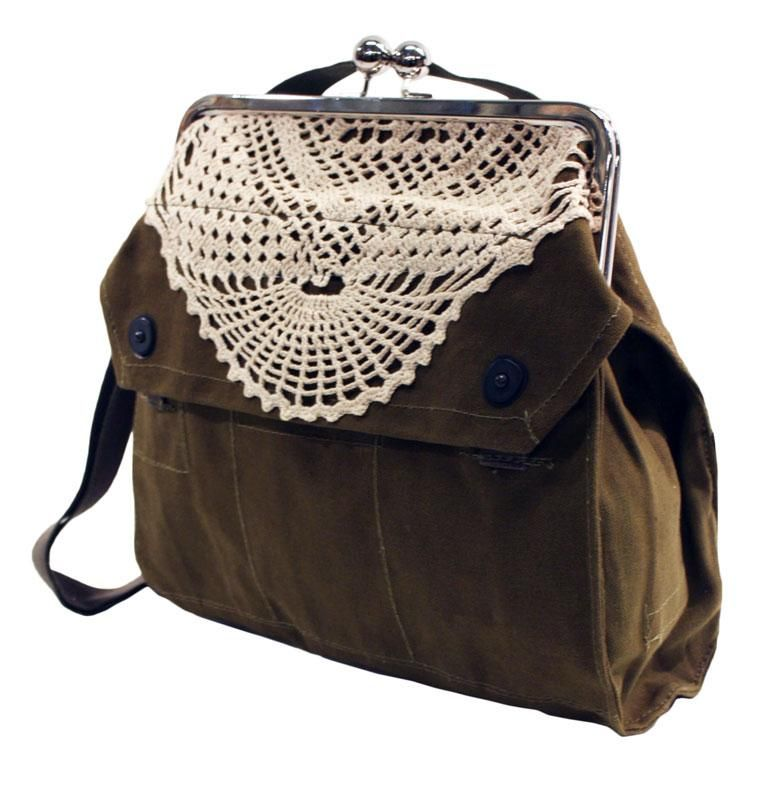 Globe Hope Antti handbag, upcycled army surplus and vintage crocheted doily    (Surprisingly or not, I have all the ingredients. DIY project?)