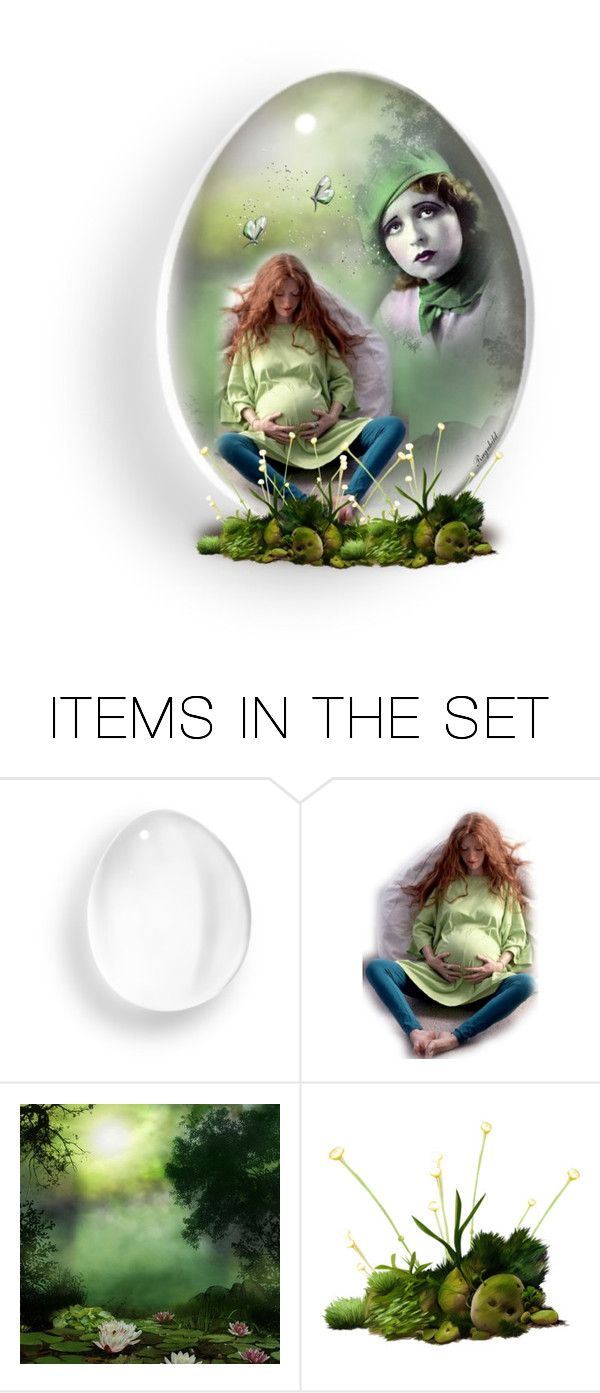 """Green Glass Egg"" by ragnh-mjos ❤ liked on Polyvore featuring art"