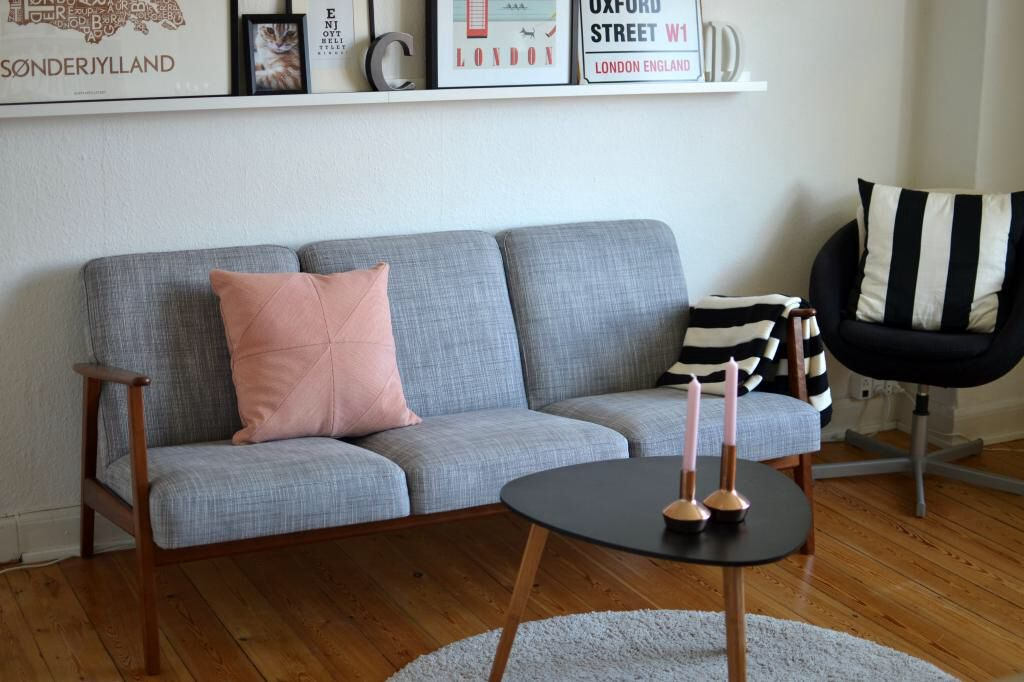 Interior, grey, rosa, stripes, couch, ikea, inspiration, home