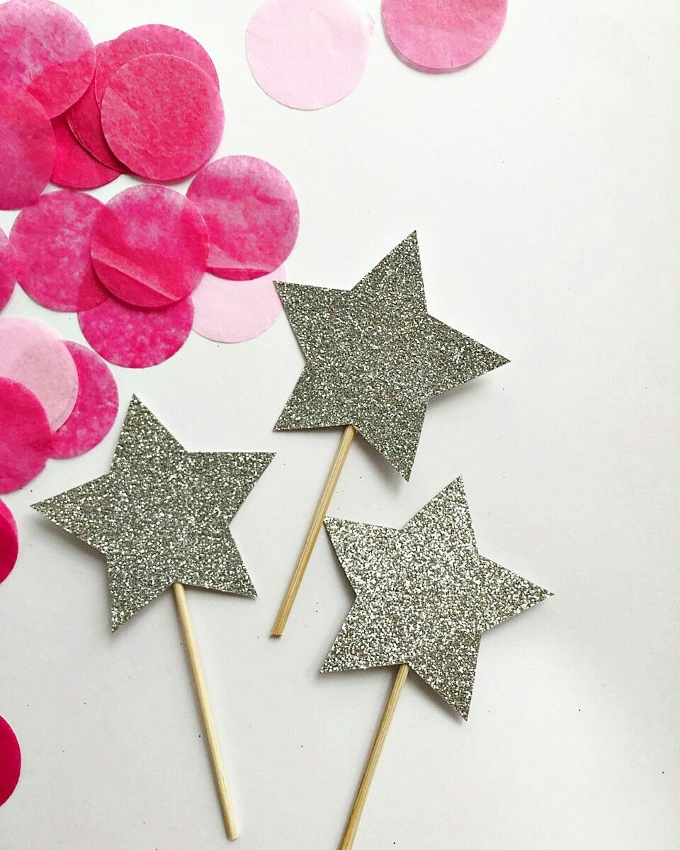 Glitter Star Cupcake Toppers Twinkle Little Star Birthday Party