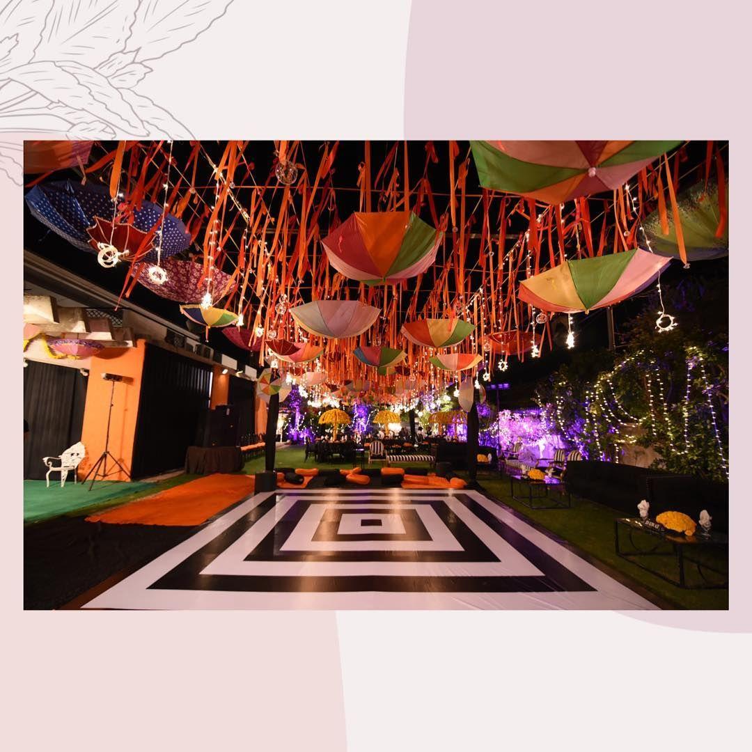 "DAWAT on Instagram: ""Marigold x Umbrellas  Your Story is Ours-Dawat . . #dawatpk #floral #daisy #chandeliers #weddingplanners #weddingdiaries #weddingseason…"""