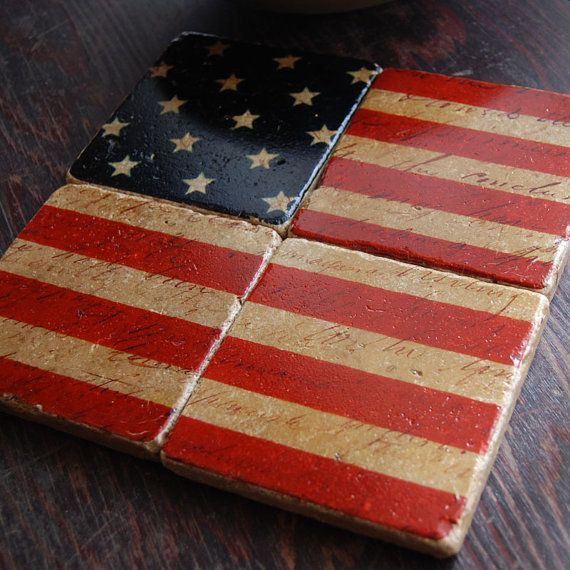 Stars and stripes forever americana stone coaster set - Forever tile and stone ...